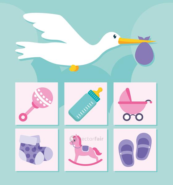 stor and baby shower icon set, flat style