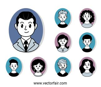 cartoon man and diversity people collection, vector illustration