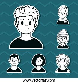 cartoon young man and people icon set, line style