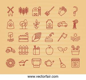 collection of farm icons, Half line style