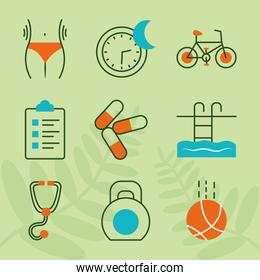 health and sport icon set, line style