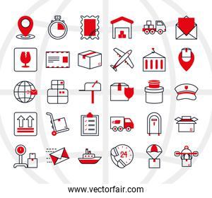 icon set of postal service and shipping, half line half color style