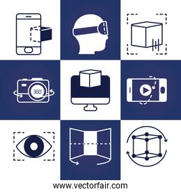 augmented reality and vr icon set, line style
