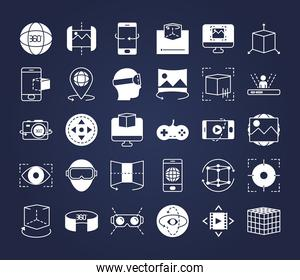 icon set of augmented reality, line style