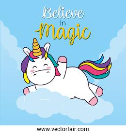 believe in magic design with cute unicorn on a cloud, line and fill style
