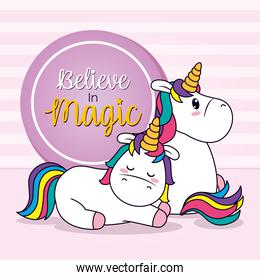 believe in magic design with cute unicorns, line and fill style
