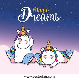 magic dreams design with cute unicorns with pillows, line and fill style