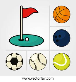 sport balls and golf flag, line and fill style