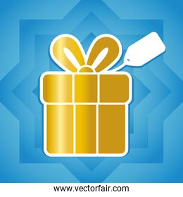 golden gift box icon, colorful design