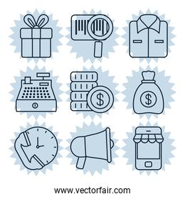 icon set of shopping and money, silhouette style