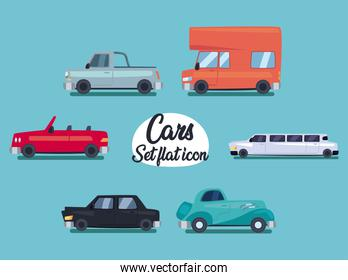 cars set of flat icons vector design