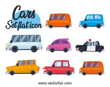 cars collection of icons vector design