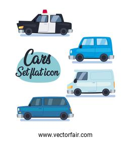 cars set flat icon vector design