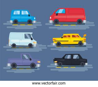 cars icons group vector design