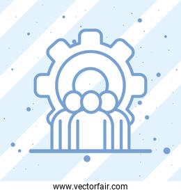 Businesspeople avatars with gear on striped background vector design