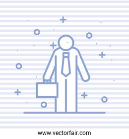 Businessman avatar with suitcase on striped background vector design