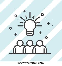 Businesspeople avatars with light bulb on striped background vector design