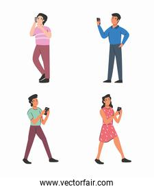 men and woman with smartphones vector design