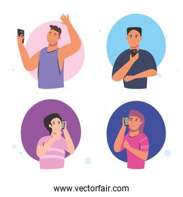men and women with smartphones calling vector design