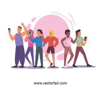 group of people with smartphones vector design