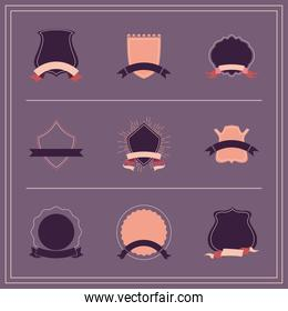 vintage labels with ribbons icon set vector design