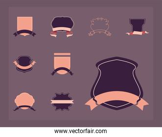 vintage labels with ribbons icon bundle vector design