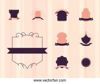 vintage labels with ribbons set of icons vector design