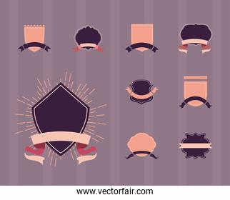 vintage labels with ribbons icon collection vector design