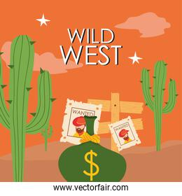 Wild west cowboy man wanted papers and money bag vector design
