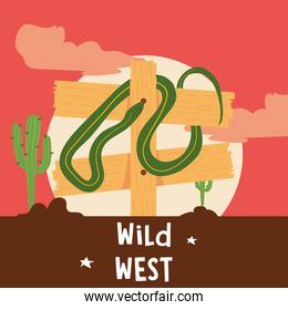 Wild west road sign with snake vector design