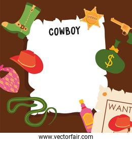 Wild west cowboy man wanted paper with icon set vector design
