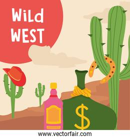 Wild west tequila bottle cactus with hat and money vector design
