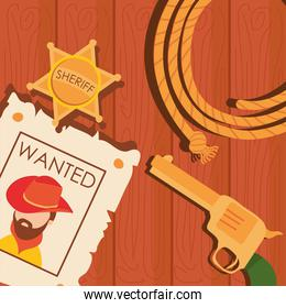 Wild west cowboy man wanted paper gun and sheriff star vector design