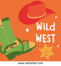 Wild west boot with hat and sheriff star vector design