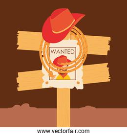 Wild west cowboy man wanted road sign vector design