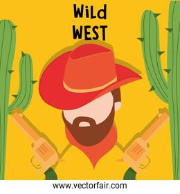 Wild west cowboy man with guns and cactus vector design