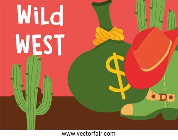 Wild west boot with hat money bag and cactus vector design