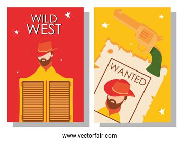 Wild west cowboy man wanted paper with tavern door and gun in frames vector design
