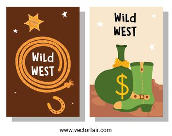 Wild west rope sheriff star money bag and boot in frames vector design