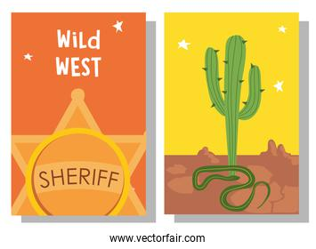 Wild west sheriff star cactus and snake in frames vector design