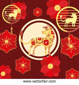 Chinese new year 2021 bull with red flowers vector design