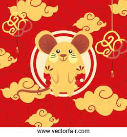 Chinese new year 2021 mouse with yellow clouds vector design