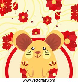 Chinese new year 2021 mouse with red flowers vector design