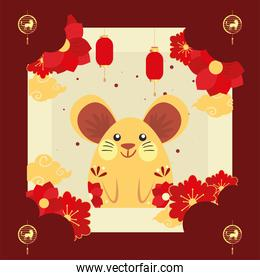 Chinese new year 2021 mouse with red flowers and lanterns vector design