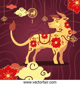 Chinese new year 2021 bull with clouds and flowers vector design