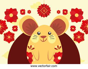 Chinese new year 2021 mouse with red flowers and fortune hanger vector design