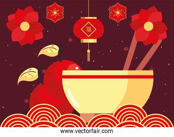 Chinese new year 2021 rice bowl oranges and flowers vector design