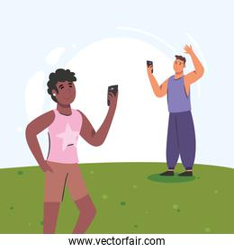 black woman and man with smartphone vector design