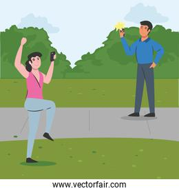 woman and man with smartphone at park vector design