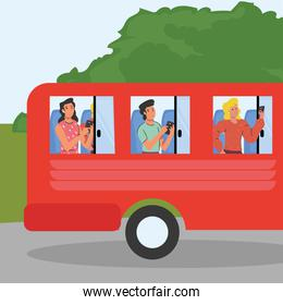 people with smartphone in bus vector design